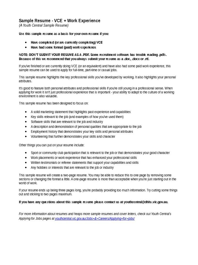 YouthCentral Resume VCE WorkExp (1)   Résumé   Point Of Sale