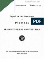 Reporte de La FAO Al Gobierno de Pakistán Sobre La Instalación de Un Matadero.