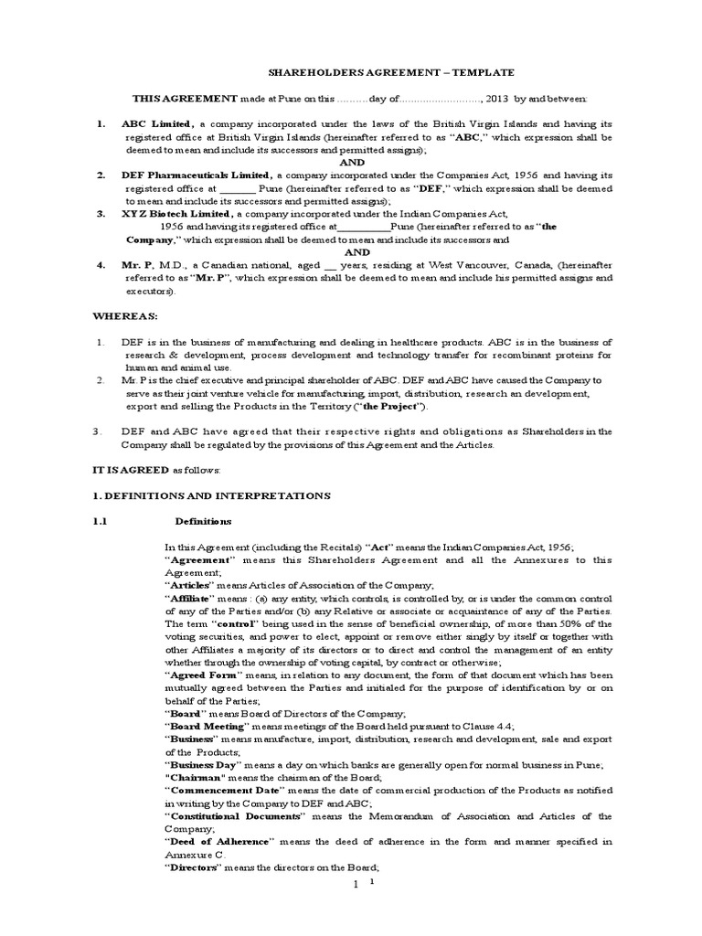 Simple Shareholder Agreement Template from imgv2-2-f.scribdassets.com