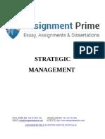 Assignment Prime - Strategic Management Sample