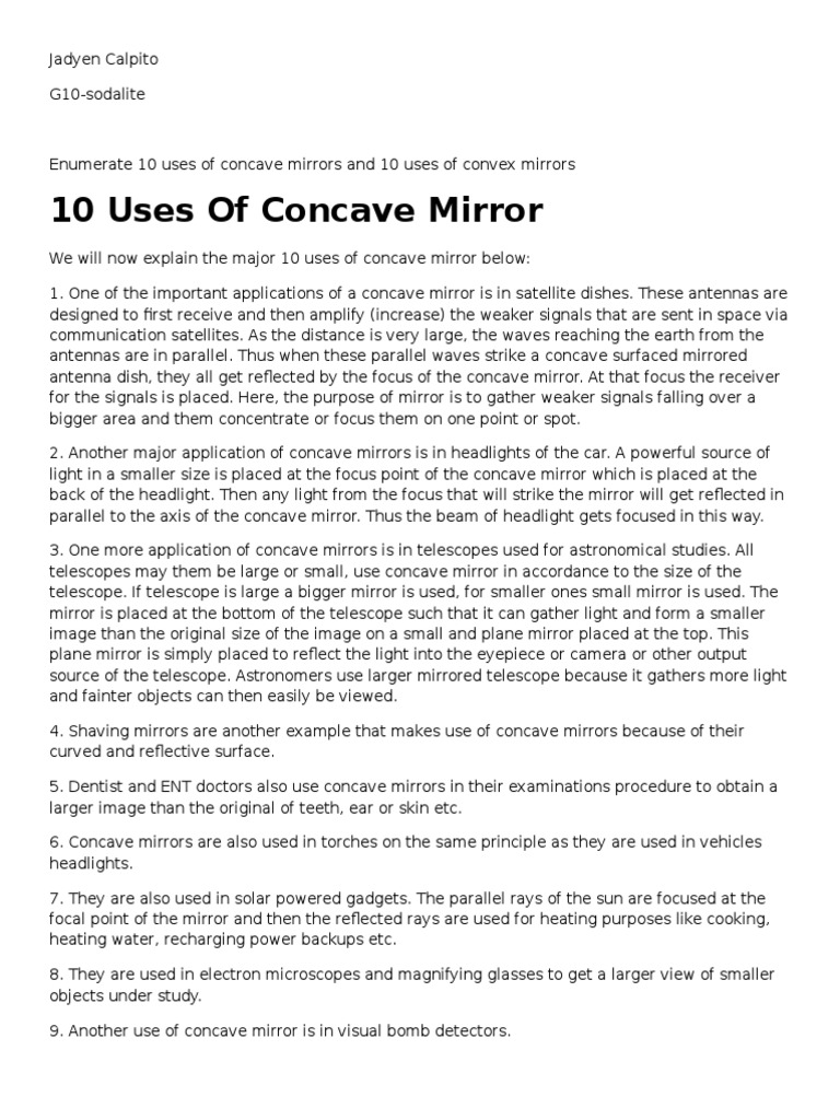 uses of concave mirror and convex mirror