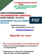 Cours de vulgarisation agricole