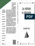 Jacqueline Russ - Les Méthodes en Philosophie