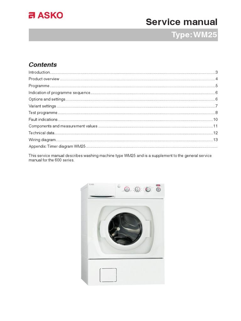 Asko Washing Machine Wiring Diagram Switch Defy Service Manual Wm25 Electrical Resistance Ge Motor