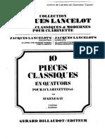10 Piezas Clásicas Para Cuarteto de Clarinetes