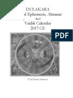 DULAKARA  Sidereal Ephemeris, Almanac  And Vaidik Calendar 2017 CE
