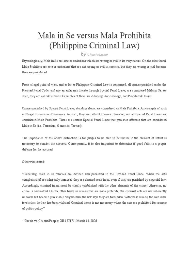 some examples of mala prohibita crimes