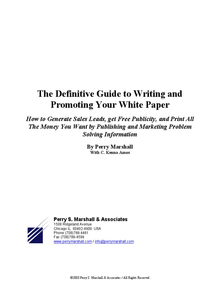 Definitive Guide to Writing and Promoting Your White Paper | Advertising |  Sales