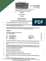 2007 Unit 1 Paper 1