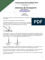 Lista 1 - FenTransp - Conceitos Iniciais