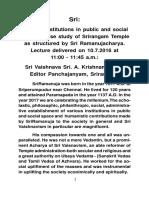 Creating Institutions Ramanuja Seminar