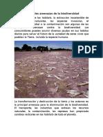 Principales Amenazas de La Biodiversidad