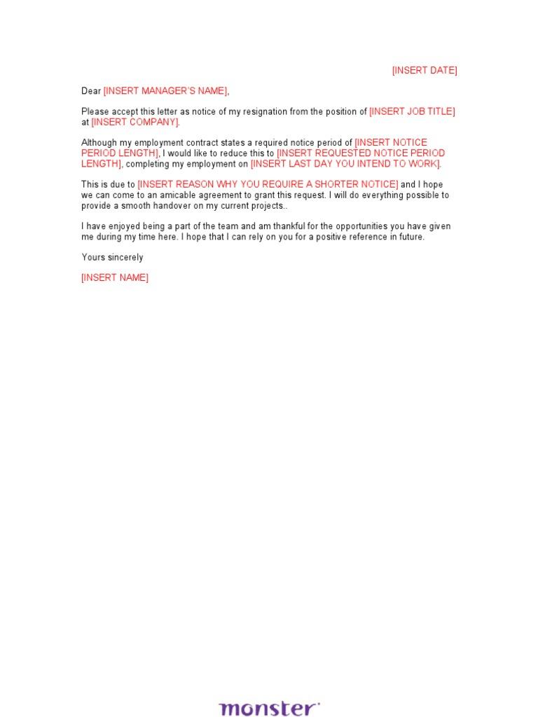 Resignation Letter Sample Shorten Notice – Resignation Letter Monster