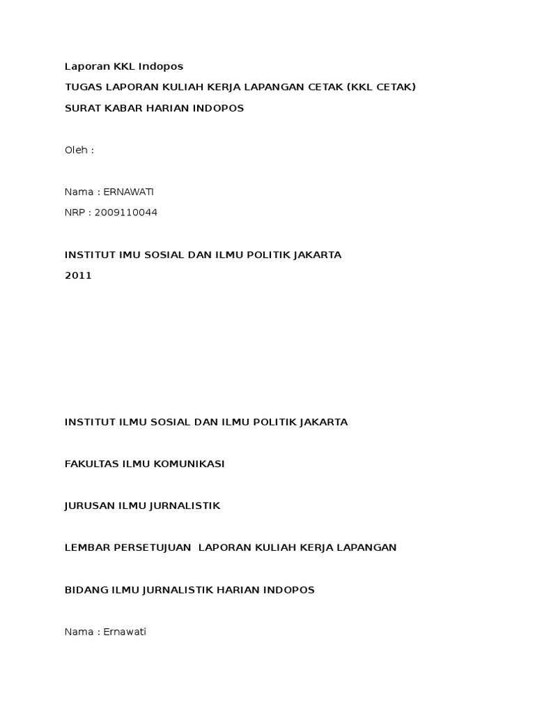 Contoh Laporan Kkl Indopos Docx