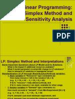 Simplex Method and Sensitivity Analysis2012