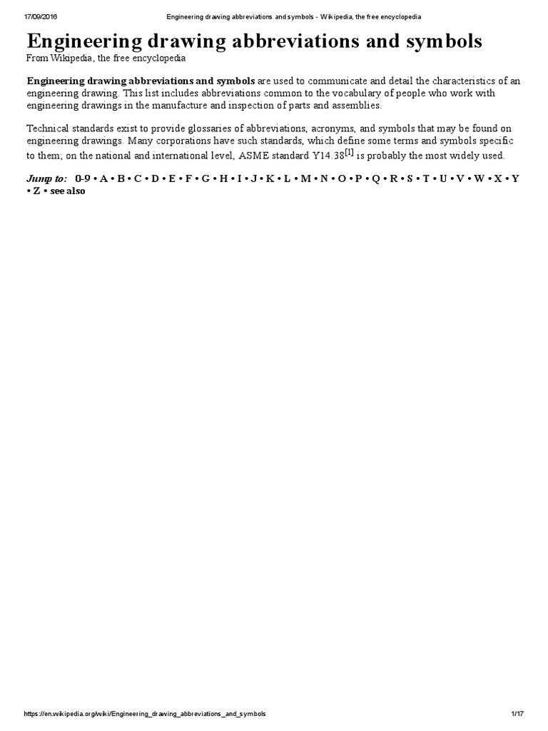 Engineering Drawing Abbreviations And Symbols Wikipedia The Free