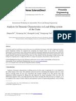 Artigo - Analysis for Dynamic Characteristics in Load Lifting System of the Crane