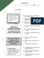 English Worksheet Terceros 3