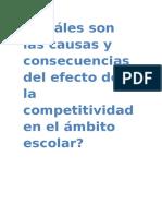 Cuáles Son Las Causas y Consecuencias de La Competitividad en El Ámbito Escolar