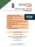 LAMPEA-Doc 2010 - numéro 20 / Vendredi 4 juin 2010