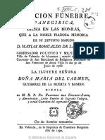Oracion Funebre a Don Matias Romualdo de La Muela 1788