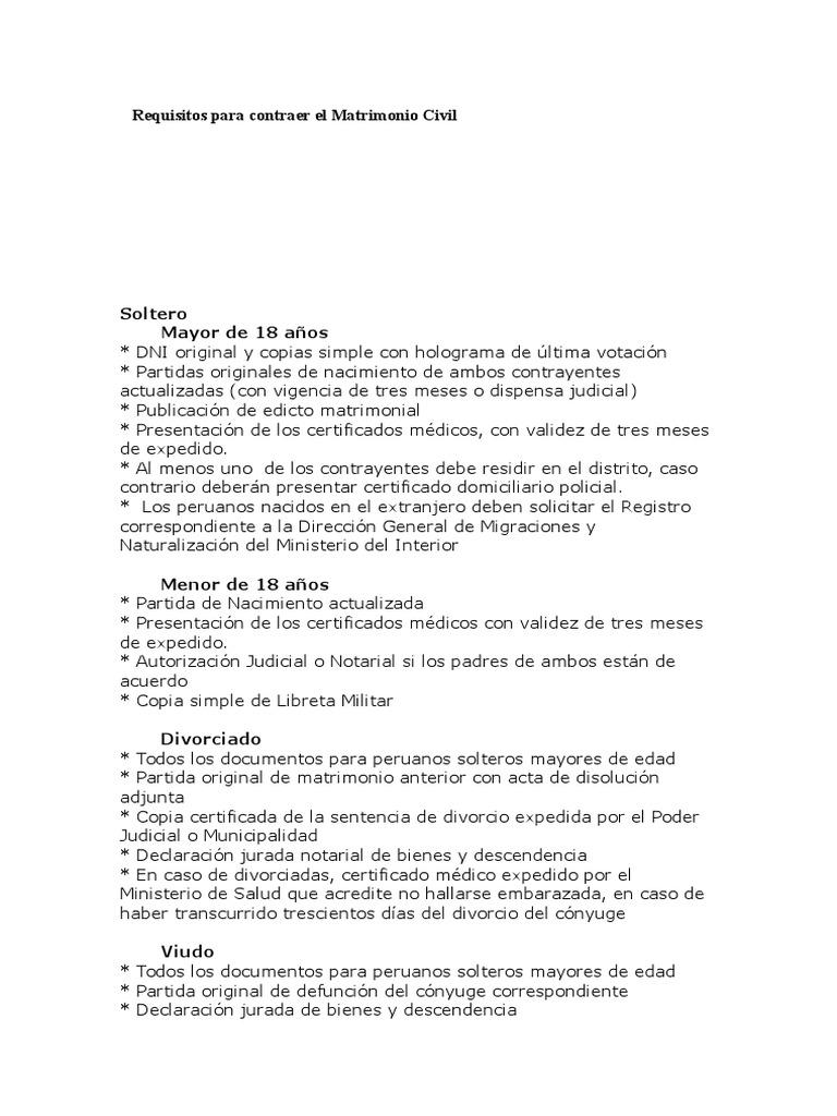 Requisitos Para Contraer El Matrimonio Civil