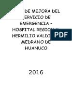 Plan de Mejora Del Servicio de Emergencia