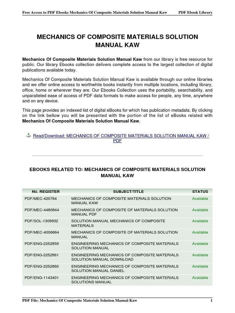 mechanics of composite materials solution manual kaw rh es scribd com solution manual for mechanics of composite materials 2nd ed Composite Solutions Utah