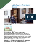 Where Are We Now — President Bashar Al-Assad