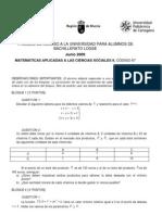 PAU Murcia Matemáticas CCSS 06/09