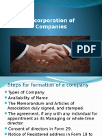 Incorporation of Company
