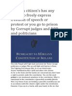 No Irish Citizen's Has Any Rights to Freely Express Freedom of Speech or Protest or You Go to Prison by Corrupt Judges and DPP