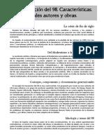 Literatura 5.- Generación Del 98. Características. Principales Autores y Obras.