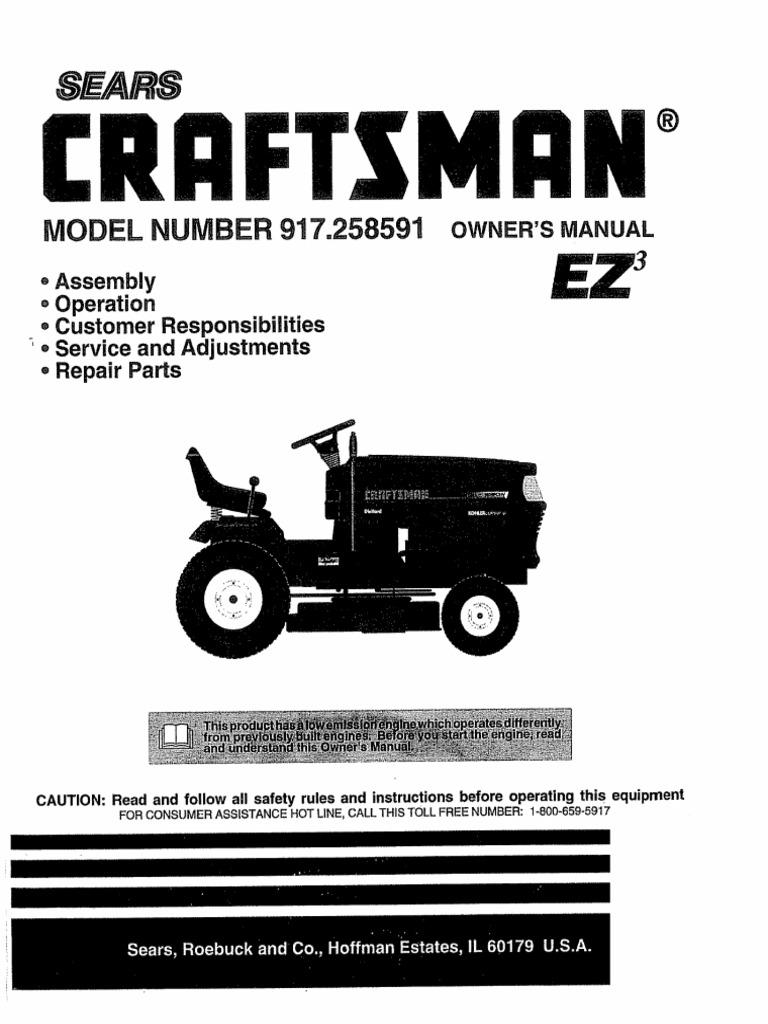 Craftsman Riding Mower 917258591 Tractor Clutch Sears Suburban 15 Wiring Diagram