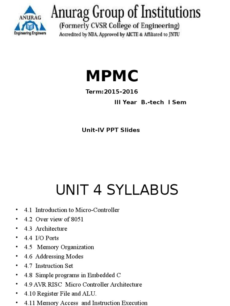 Unit 4ppt Arm Architecture Instruction Set Working With External Interrupts In Avr Micro Controller