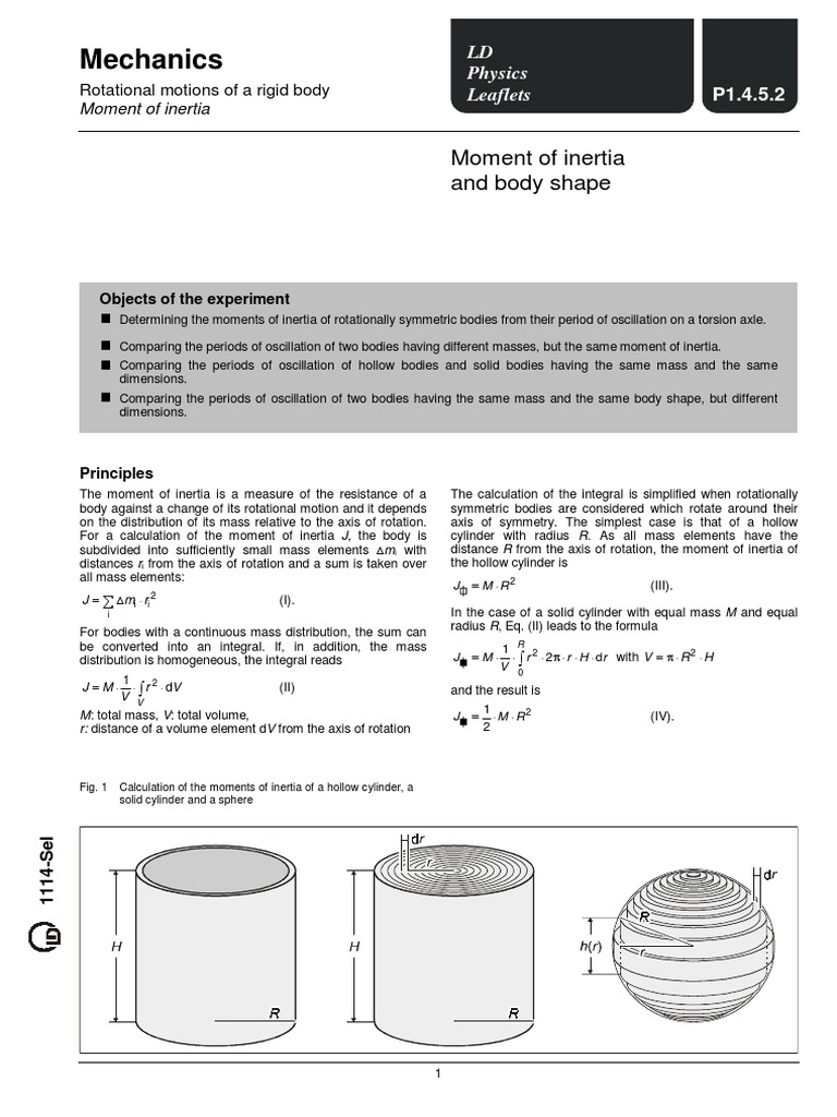 moment of inertia experiment pdf | Rotation Around A Fixed