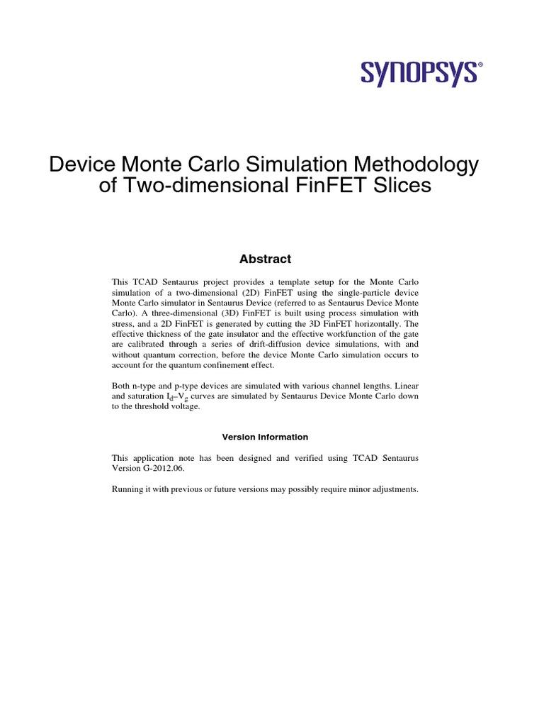 device monte carlo simulation methodology of two dimensional finfet rh es scribd com Sentaurus Myth TCAD Simulation