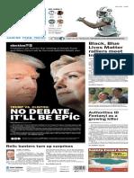 Asbury Park Press front page Monday, Sept. 26 2016