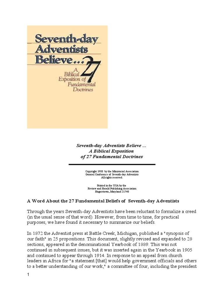 Seventh Day Adventists Believe 27 Fundamental Beliefs Revelation Bible