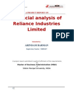 Project Report on Financial Analysis of Reliance Industry Limited
