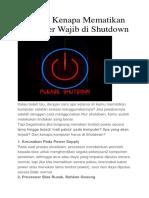 5 Alasan Kenapa Mematikan Komputer Wajib Di Shutdown