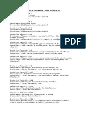 AR Denials & Actions   Medical Diagnosis   Fee