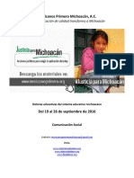 Noticias del sistema educativo michoacano al 26 de septiembre de 2016