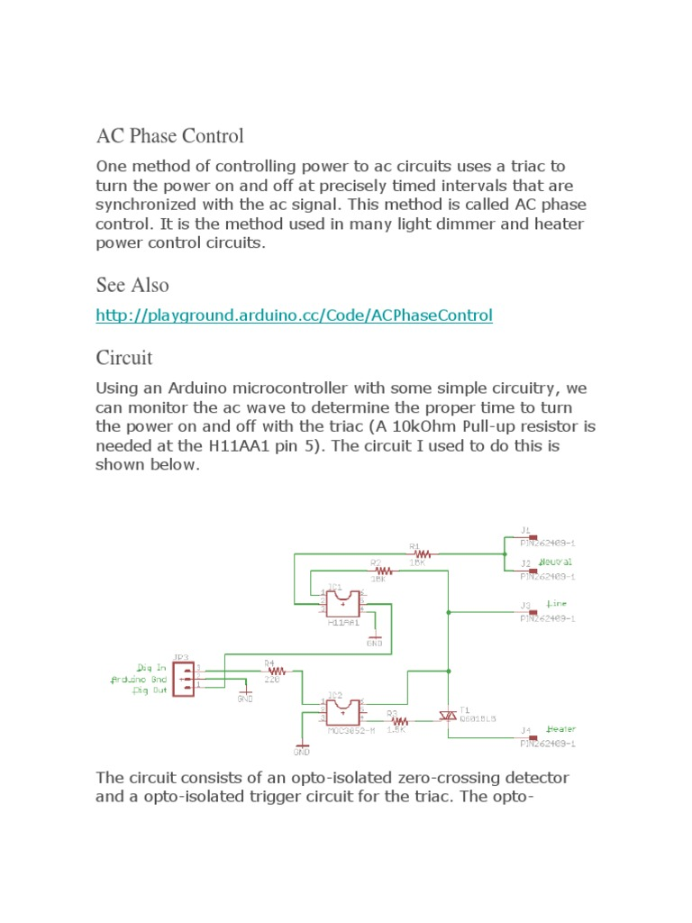 Ac Phase Control Electronic Circuits Electrical Opto Circuit For Arduino