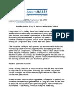 Haber Puts Forth Environmental Plan