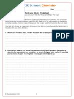 Acids and Alkalis Worksheet