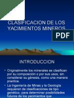 Clasificacion de Los Yacimientos Mineros