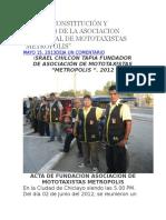 Acta de Constitución y Estatuto de La Asociacion de Mototaxistas