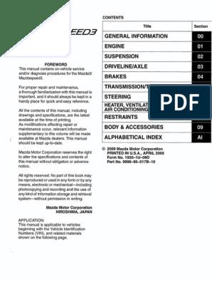 2nd Gen Mazda3 Mazdaspeed3 Workshop Manual (1) | Vehicles