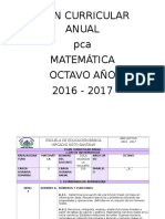 Plan Curricular Anual Octavo Matemática
